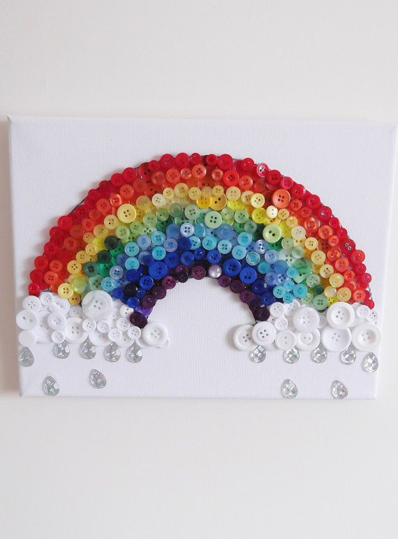 Magic Rainbow Button Canvas by StudioButton on Etsy