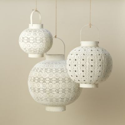 White Filigree Lantern in Outdoor Living FURNITURE + ACCENTS Lighting at Terrain