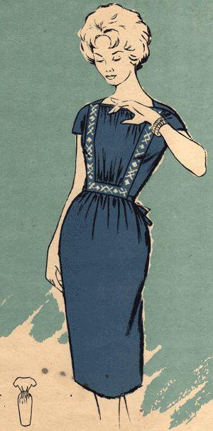Платье отделанное вышивкой, мода 1971 года