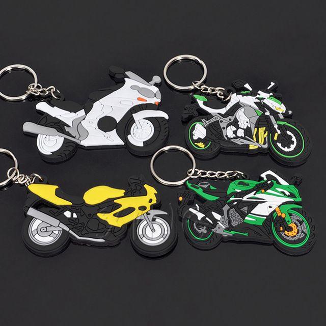 2 RUBBER KAWASAKI  MOTORCYCLE KEYCHAIN KEY RING