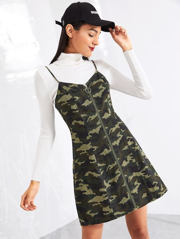 34b7f98c27 O-Ring Zip Up Camo Print Cami Dress -SheIn(Sheinside)