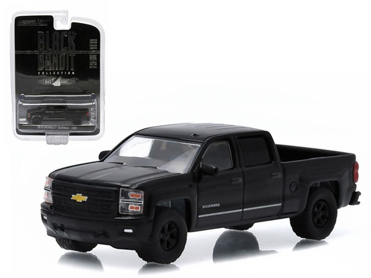 2015 Chevrolet Silverado 1500 Pickup Truck Black Bandit 1/64 Diecast Model by Greenlight - Limited Edition. Has Rubber Tires. Comes in a blister pack. Detailed Interior, Exterior. Metal Body and Chassis. Officially Licensed Product. Dimensions Approximately L-2 1/2 Inches Long.-Weight: 1. Height: 5. Width: 9. Box Weight: 1. Box Width: 9. Box Height: 5. Box Depth: 5