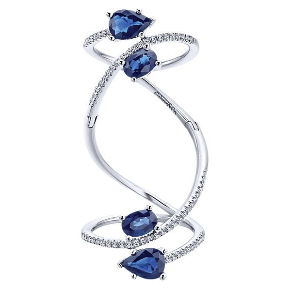14k White Gold Refined Lusso Color Style Fashion Ladies' Ring With Diamond With And Sapphire. | Gabriel & Co NY | LR50995W45SA