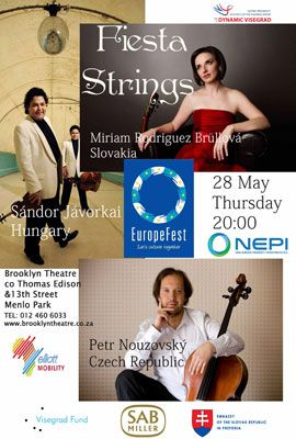 Fiesta Strings Thursday, 28 May 20:00  Another superb programme of music with virtuosos from Eastern Europe in ensemble featuring both nostalgic and fiery repertoire.  Sándor Jávorkai, violin (Hungary), Petr Nouzovský, violoncello (Czech Republic) Miriam Rodriguez Brüllová, guitar (Slovakia)