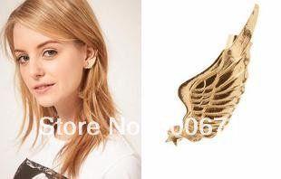 Винтажный золото серебро черный уха манжеты шипы стержня вешалки серьги крыло серьги, Винтажный ювелирные изделия,