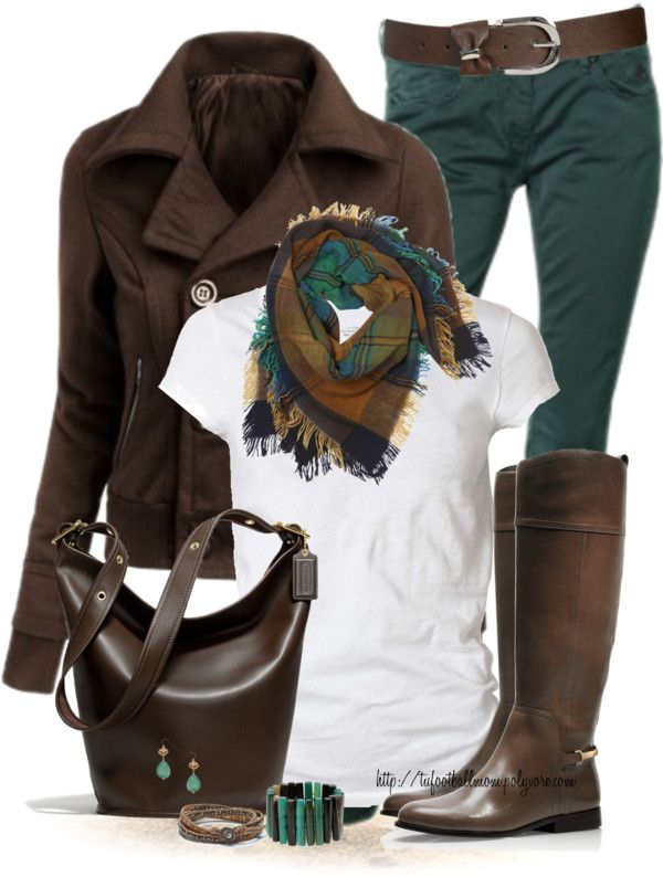White T-shirt inspiration with Brown and Teal. Scarf, boots, bag, leather jacket for Casual Fall look. See our website to purchase your organic cotton T shirt and support women and girls. Made in Canada.