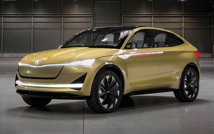 Descargar fondos de pantalla Skoda Visión E Concepto de 2017, checa conceptos, nuevos coches, SUV, Skoda