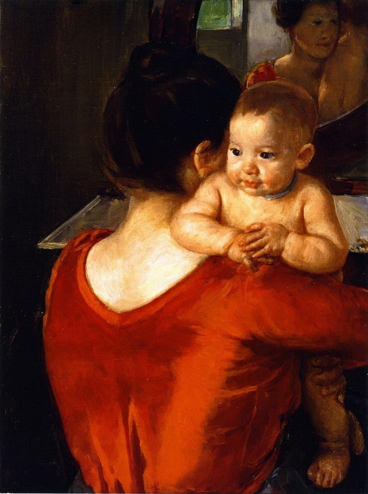 Woman in a Red Bodice and Her Child,  Mary Cassatt - circa 1901