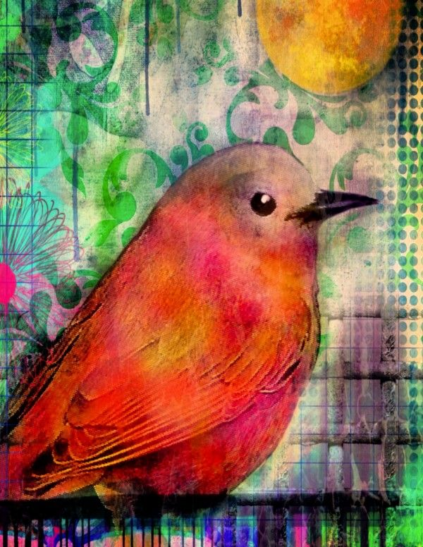 bird on a wire by Robin Mead, Watercolor and digital