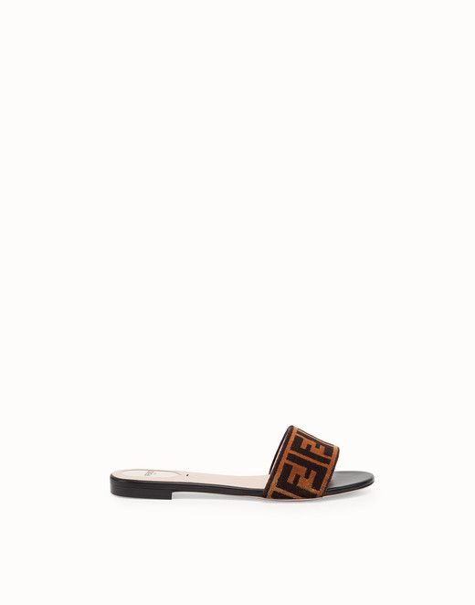 9512c748b3 FENDI FLAT SANDALS - Multicolor leather and fabric slides - view 1 ...