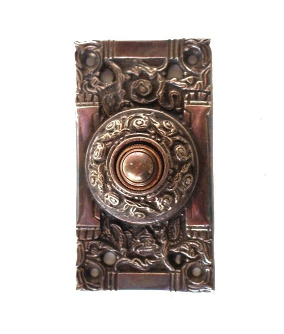 Door Bell Push Button Bronze Victorian Vintage Replica Electric Oil Rubbed Antique Hardware Antiques Doors