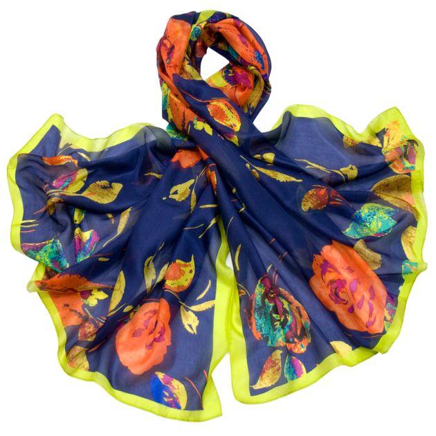 Etole en soie bleu marine roses premium - Etole soie - Mes Echarpes