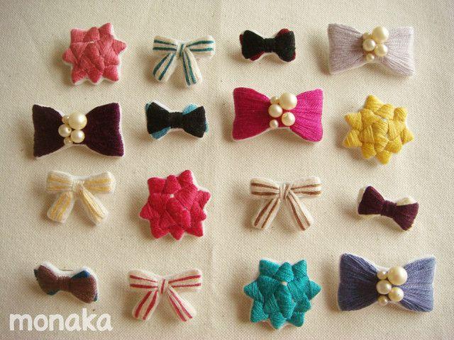 ハンドメイドマーケット minne(ミンネ)| リボンアソート刺繍ブローチ(4個選択)
