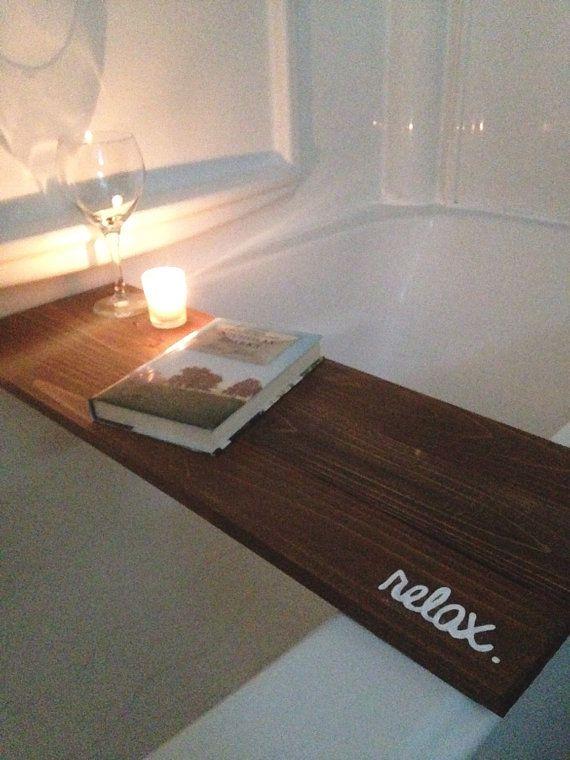 Bath Tub Tray Caddy, Bath Tray, Bath Caddy, Stain Relax, Rustic Bathroom Decor…