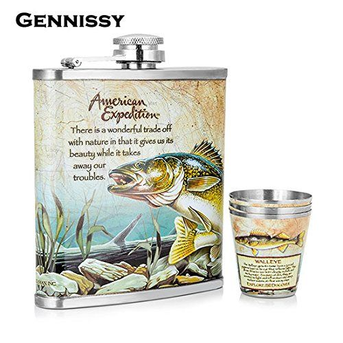 Brand New GENNISSY Wolf and Forest Pattern Mini Alcohol Bottle 7oz Metal Bar and Outdoor Sports Dedicated Stainless Steel Hip Flask Set Style2
