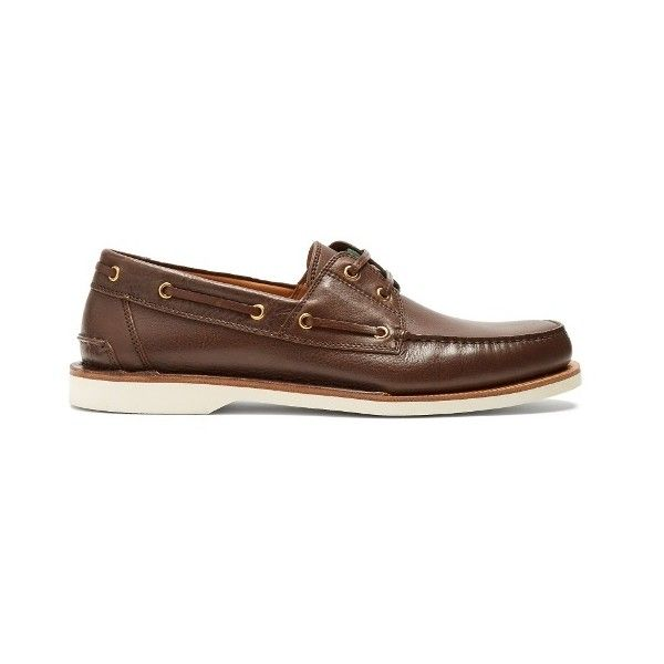 Gucci Delta leather deck shoes (36.735 RUB) ❤ liked on Polyvore featuring men's fashion, men's shoes, brown multi, shoes, mens leather boat shoes, mens deck shoes, mens brown boat shoes, mens round toe shoes and mens boat shoes