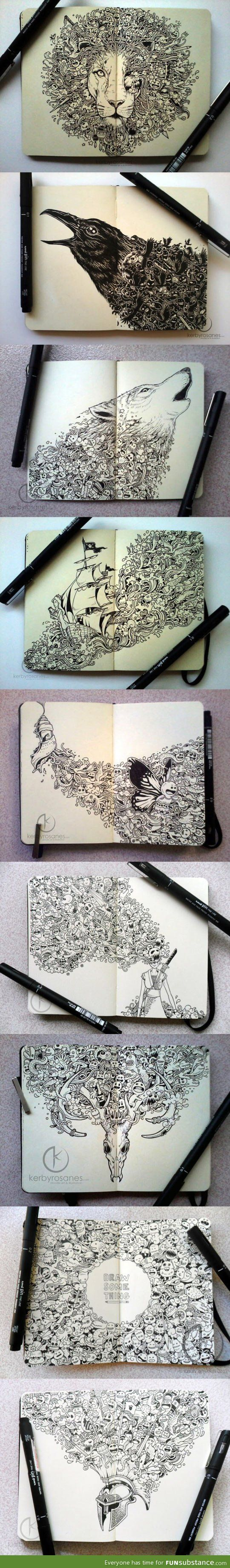 Incredible moleskine drawings by Kerby Rosanes. Click for more.