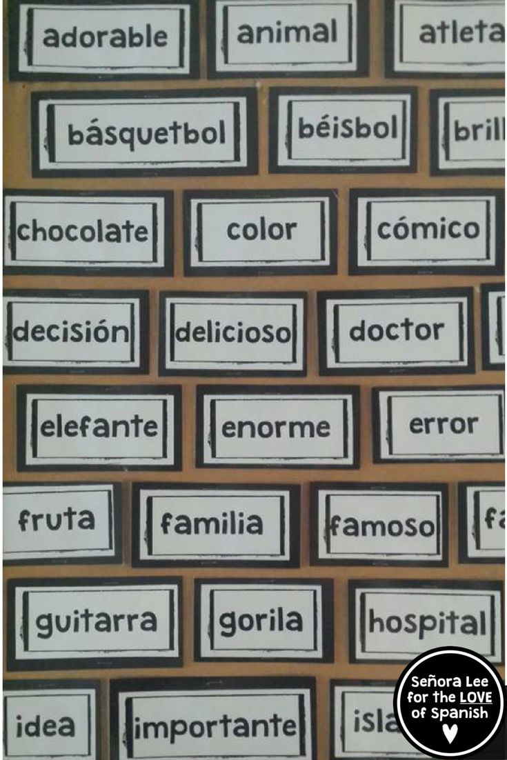 77 Spanish Cognates |Must have visual resource! Instant comprehensible input to display all year long. Big and bold, black and white bricks are easily read from the back of the room. Print to colored card stock and laminate to match any decor.