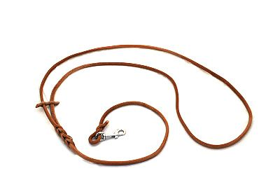 Hunting leash with carbine. Handmade from leather cord.