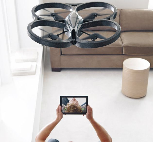 The Parrot AR Drone 2.0 is an awesome app-controlled quadricopter can be piloted from any iOS or Android device, and fly as far as 165 feet from your Wi-Fi device.