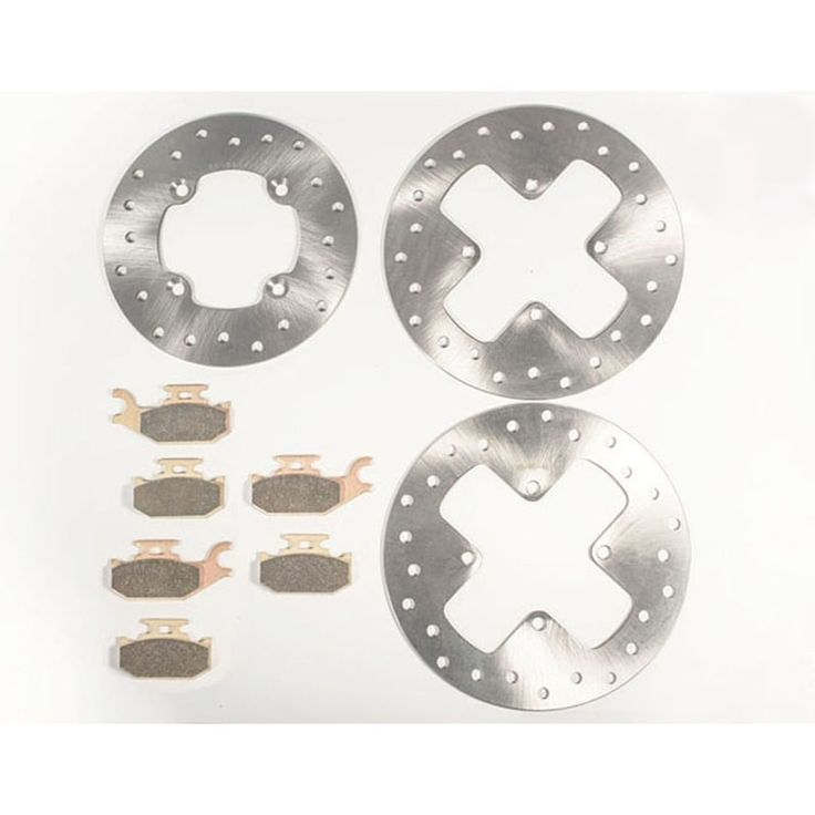 2012 2013 Can-Am Outlander Max XT 400 Front & Rear Brake Rotors & Brake Pads, Silver stainless steel