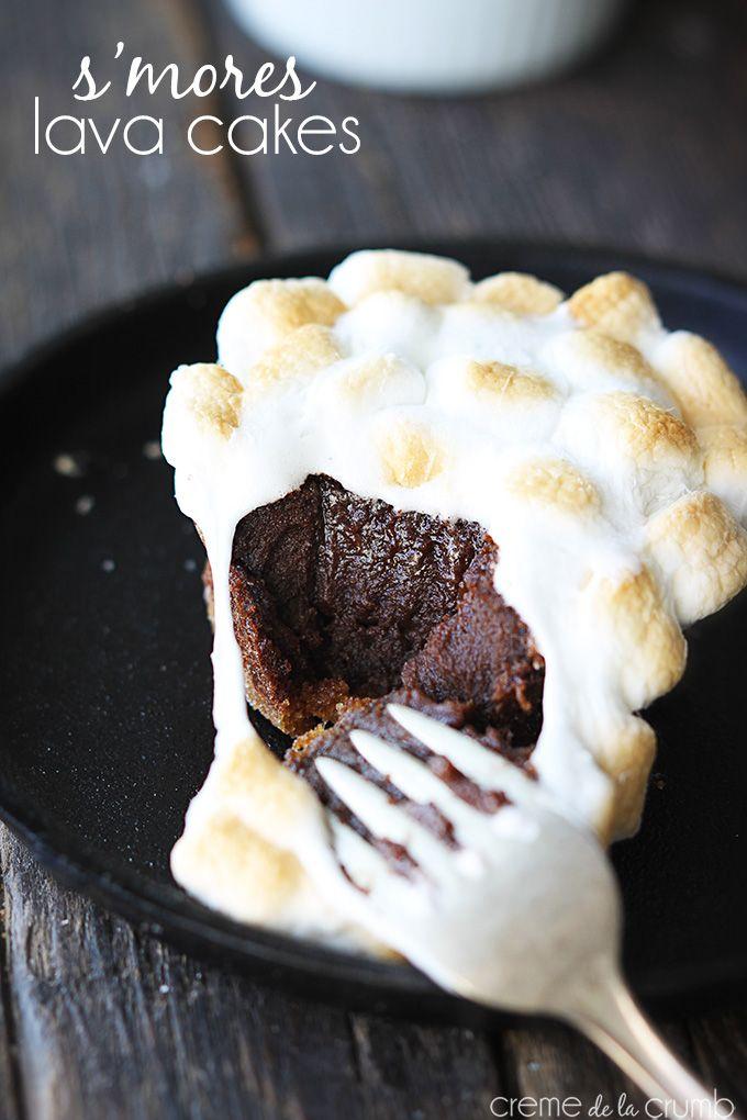 S'mores Lava Cakes - Creme de la Crumb http://lecremedelacrumb.com/2014/01/smores-lava-cakes.html