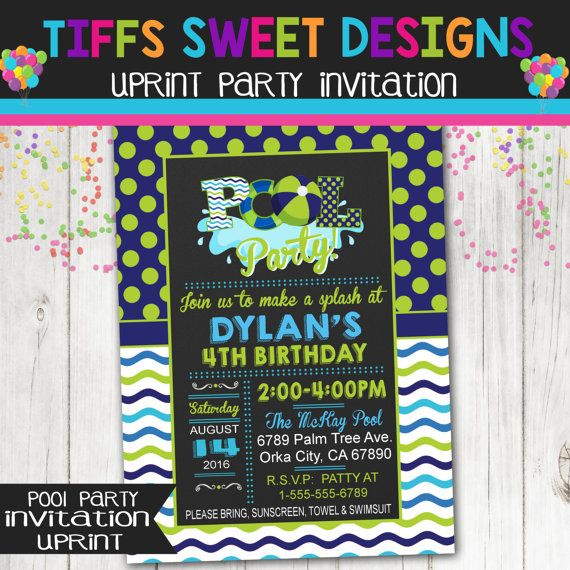 Boys Pool Party Invitation  Navy Blue and by TiffsSweetDesigns