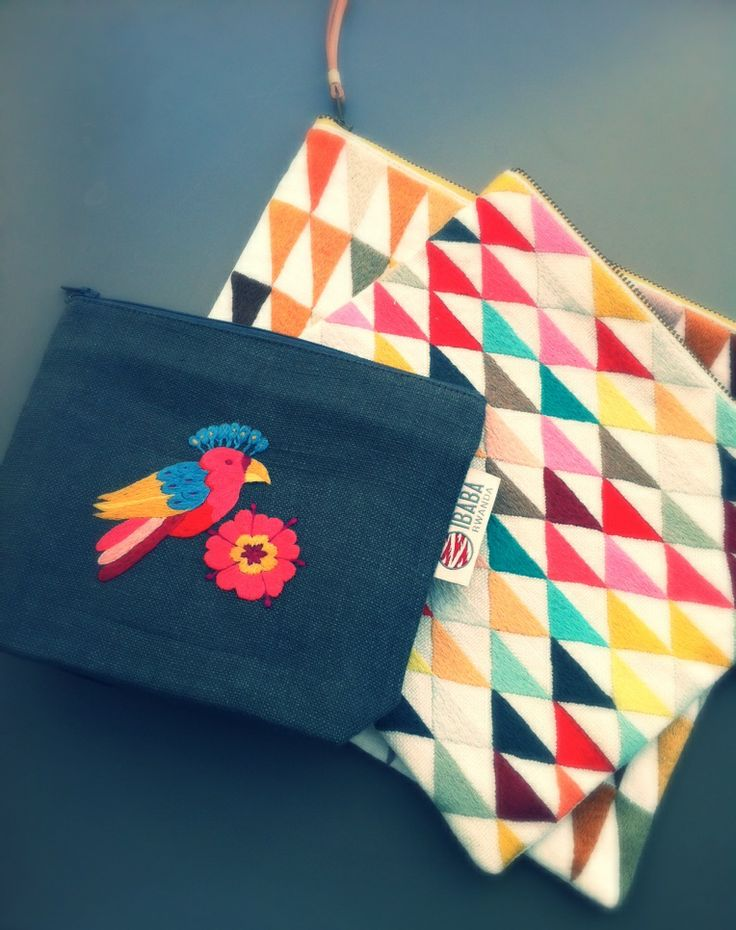 Embroidered pouches from Ibaba Rwanda.