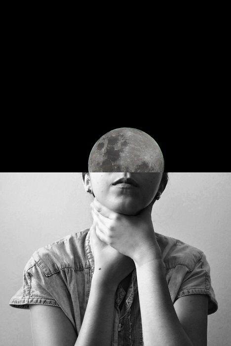 Face Moon me Photography Portrait Art Black and White BW BN Bianco e Nero Fotografia Ritratto di signora Contemporary Surrealism