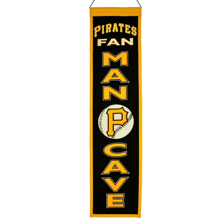 "This beautifully embroidered 8"" x 32"" wool banner commemorates the Pittsburgh Pirates with a Man Cave motif. A ""Must Have"" for all Pittsburgh Pirates super-fans."