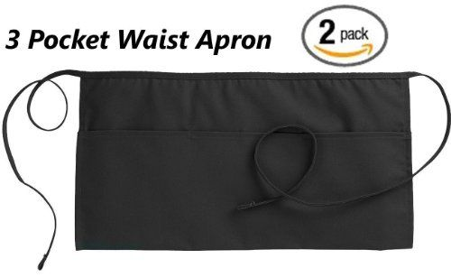 2 WAIST APRON WITH 3 POCKETS COTTON POLY COMMERCIAL RESTAURANT - BLACK - http://www.kitchendiningstuff.com/2-waist-apron-with-3-pockets-cotton-poly-commercial-restaurant-black/