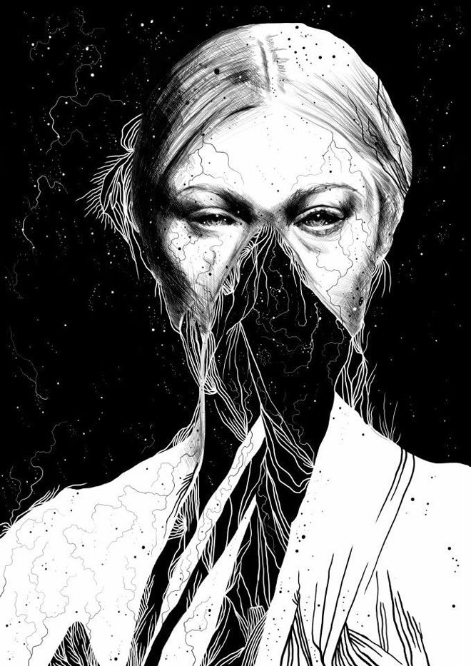 Dark, Detailed Black And White Drawings By Anders Rkkum -7412