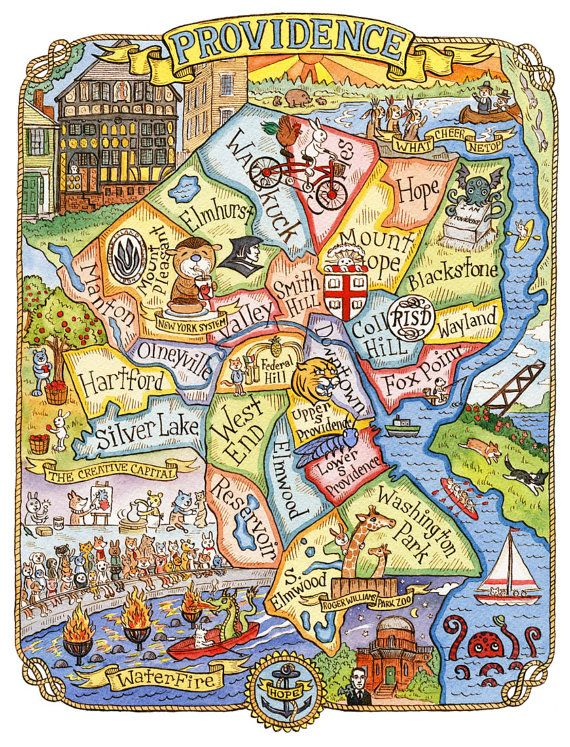 Best MAPS Images On Pinterest Illustrated Maps Map - Map of rhode island usa
