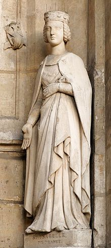 Isabelle of France (March 1225 – 23 February 1270) was the daughter of Louis VIII of France and Blanche of Castile. She was a younger sister of King Louis IX of France (Saint Louis) and of Alfonso, Count of Poitiers, and an older sister of King Charles I of Sicily. In 1256 she founded the Poor Clare Monastery of Longchamp in the part of the Forest of Rouvray now called the Bois de Boulogne, west of Paris. She is honored as a saint by the Franciscan Order…