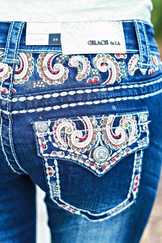 GRACE IN LA Jeans Sale CHEAP Flap Bootcut Stretch Jean DONT MISS ME Size 30 x 34 #GraceInLA #BootCut