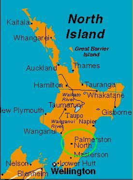 Mapa de Nueva Zelandia con Palmerston North, cerca de donde vivo yo