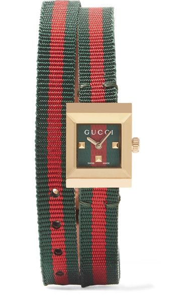 GUCCI Canvas and gold-tone watch$930 Green and red canvas, tan leather, gold-tone metal Buckle fastening Water resistant up to 30 meters Comes in a presentation box Made in Switzerland