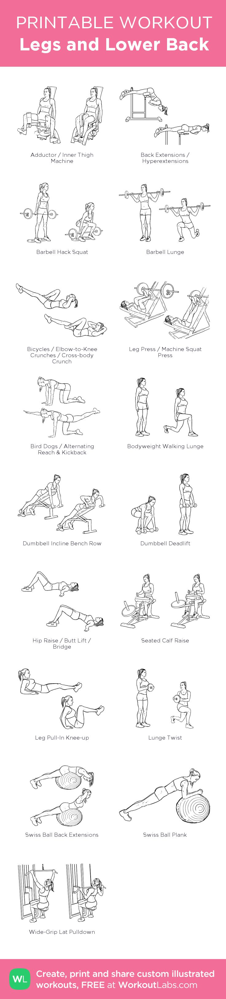Legs and Lower Back:my visual workout created at WorkoutLabs.com • Click through to customize and download as a FREE PDF! #customworkout
