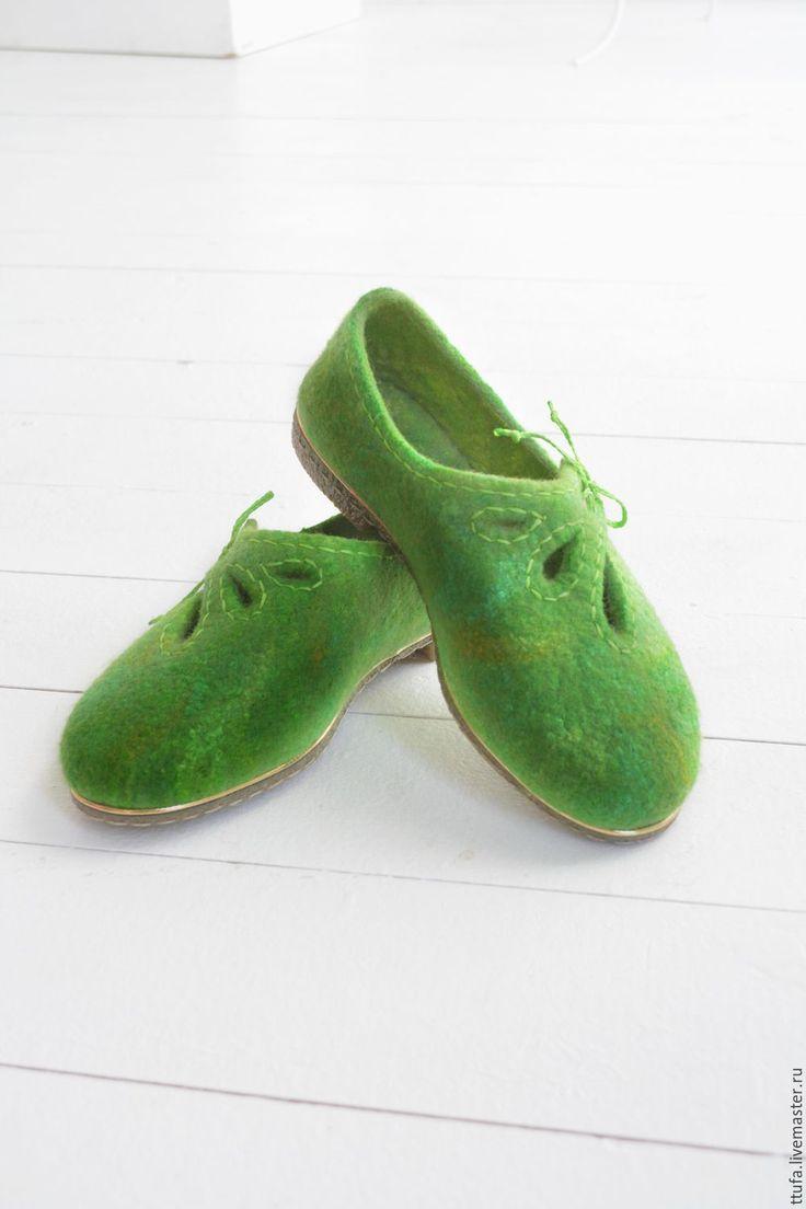 """Купить Туфельки валяные """"Вино из одуванчиков"""" - ярко-зелёный, салатовый, обувь для отдыха, яблочный, лайм"""