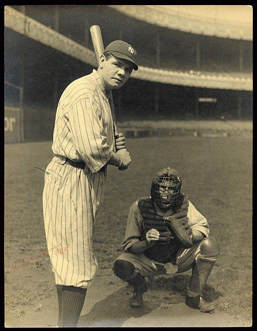 YOUNG SLUGGER: Babe Ruth at Polo Grounds, the Yankees home field just prior to the first Yankee Stadium.