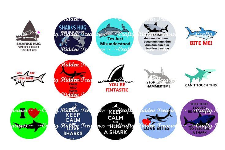 "Shark Quotes 1"" Bottle Cap Digital Image - 4x6 1 inch Digital Collage sheet (1.00 USD) by CraftyHiddenTreasure"