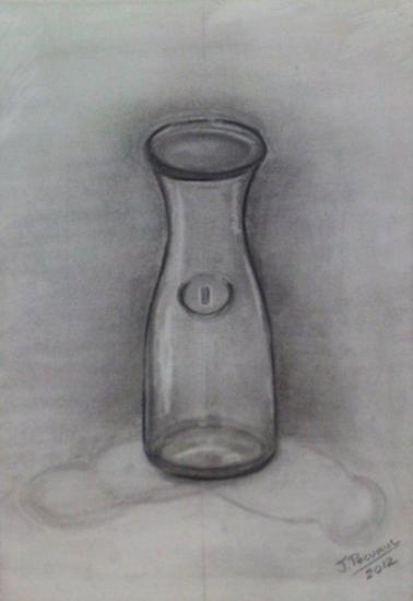 BOTELLA DE CRISTAL  Dibujo a mano alzada con carboncillo en papel Canson de tamaño DIN A 3