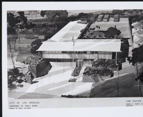 fickett-firestation99-001~1 :: Rendering, Fire Station 99, 1960 :: Edward H. Fickett, FAIA, Collection. http://digitallibrary.usc.edu/cdm/ref/collection/p15799coll25/id/184
