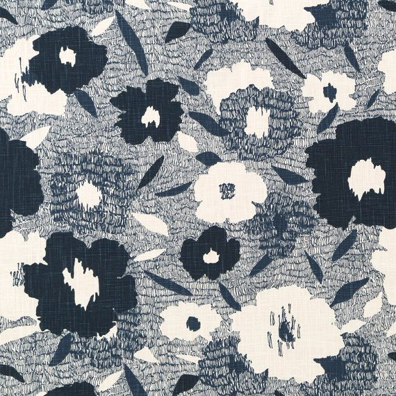 Abstract Navy Blue and White Floral Upholstery Fabric - Modern Navy Blue Curtain Fabric - Navy Home Decor Fabric for Furniture Upholstery