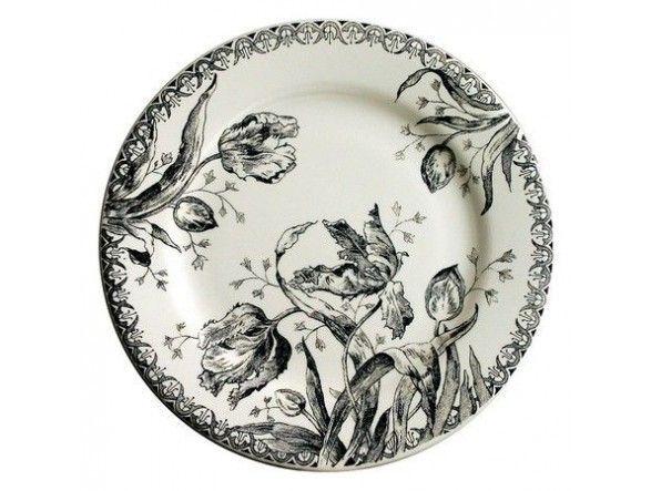 Gien - 'Tulipes Noire' Collection - Dessert Plates, s/4 / 4 Assiettes dessert