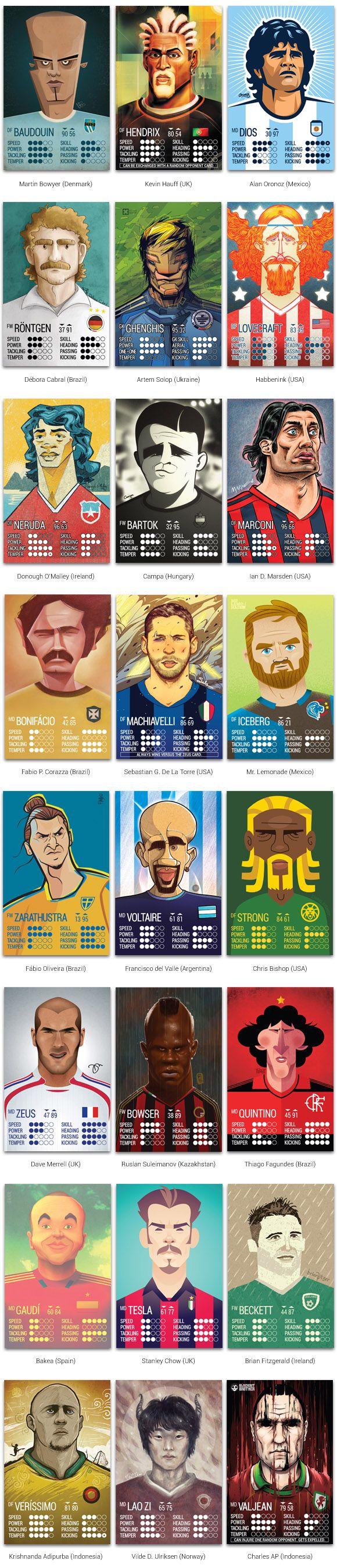 """Kampion Card Game: Jogo de cartas estilo """"Super Trunfo"""" com ilustrações de artistas do mundo todo, homenageando grandes nomes do futebol."""