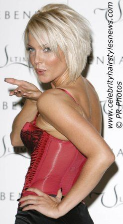 Photo of Sarah Harding with a short tapered bob
