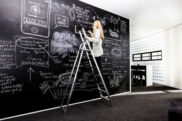 The design space for digital agency Loop includes just a chalkboard via 99 Designs