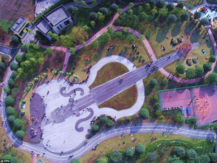 From the air, Shizhushan Park in the southeastern city of Chongqing suddenly comes alive, ...