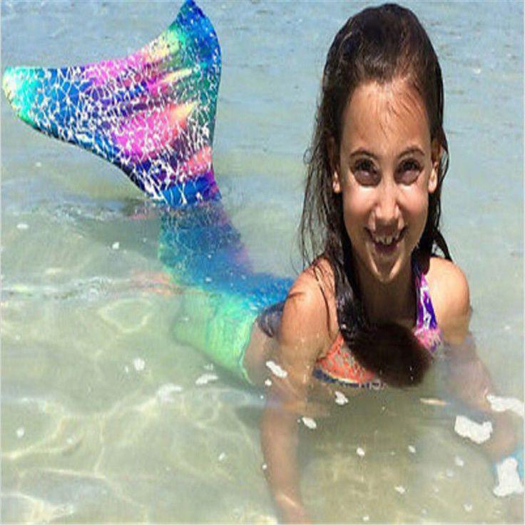 Girls Mermaid Tail Swimmable Swimming Kids Monofin Costumes Flippers Swimsuit  #GirlsMermaid #Swimsuit